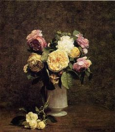 Roses in a White Porcelain Vase by Fantin Latour Henri