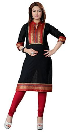 """buy now $24.99 Indian long tunic top (also called Kurti or Kurta) for women made of cotton fabric. These long tunic tops from India are suitable for all occasions and can worn with the jeans or matching legging. Please check the size chart before you order. Indian kurtis are perfect for the summer as casual … Continue reading """"Indian Cotton Tunics Blouse Womens India Apparel (Black, XXXL)"""""""