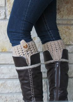 ONE Pair Wood Button Tab Crocheted Boot Cuffs by EllaGracesPlace