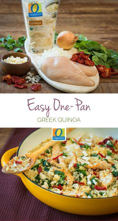 Easy One-Pan Greek Quinoa – Dress up your weeknight dinner with this simple, all-in-one-pan, no-mess recipe that everyone will love. Scraping the brown bits on the bottom of the pan will add layers of flavor to your dish!