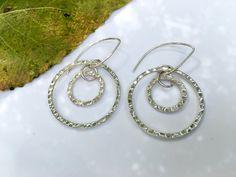 Hammered silver hoop #earrings, double circle earrings, boho teen daughter #gift under 25, classic hoop earrings, gift for friend sister mom ________________________  These m... #womensgift #minimalist ➡️ http://etsy.me/2bzJm7N