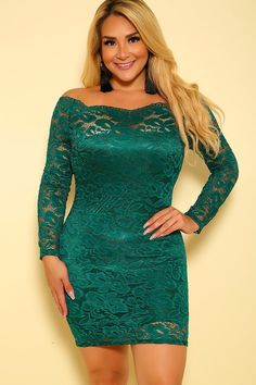 8a0b5ba23fb Sexy Hunter Green Embroidered Lace Off The Shoulder Bodycon Plus Size Party  Dress. Plus Size ClubwearPlus ...