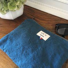 ÉLÉONORE, la pochette en coton recyclé bleu paon - Reine de Bohème