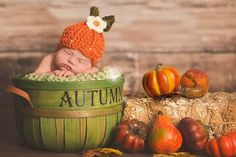 Now that it's fall, we love these autumn inspired #newborn photos!