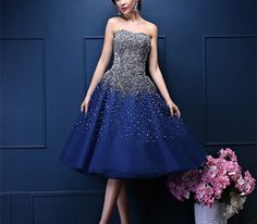 Custom Made Navy Blue Prom Dress,Tea- Length A-Line Homecoming Dress With Rhinestone Beading,Cheap Prom Dresses,Evening Dress,Prom Gowns Junior Graduation Dresses, Junior Prom Dresses, Prom Dresses For Sale, Prom Dresses Blue, Modest Dresses, Ball Dresses, Strapless Dress Formal, Ball Gowns, Evening Dresses