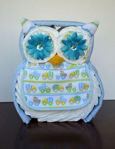 Owl diaper cake by MonkeycakesDesigns on Etsy