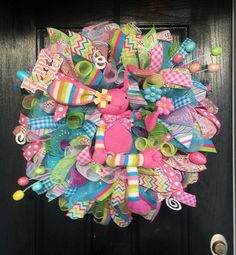 Easter wreathSpring wreathEaster bunny by ShellysChicDesigns