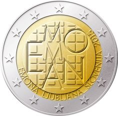N♡T.2 euro: 2000th Anniversary of the Founding of Emona.Country: Slovenia Mintage year: 2015 Face value: 2 euro Diameter: 25.75 mm Weight: 8.50 g Alloy: Bimetal: CuNi, nordic gold Quality: Proof, BU, UNC