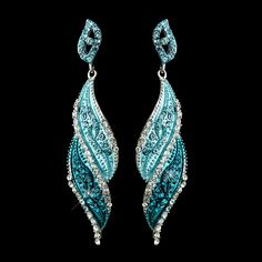 Turquoise Silver Turquoise Rhinestone Dangle Bridal Earrings 9252
