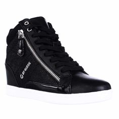G by GUESS Damsel High Top Wedge Fashion Sneakers - Black Multi