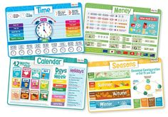 merka Time Set - Educational Kids Placemats - Includes: Time, Calendar, Seasons and Money - Non Slip Washable Learning Tools, Kids Learning, Early Learning, Calendar Time, Dramatic Play, New Things To Learn, Kids Education, Little People, Educational Toys