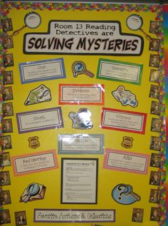 Bulletin board for Mystery Reading Unit Third Grade Reading, Guided Reading, Teaching Reading, Teaching Tools, Second Grade, Detective Theme, Genre Study, Mystery Genre, Reading Bulletin Boards