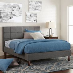 Better Homes & Gardens Knox Upholstered Platform Bed, Queen – House Insides Old Bed Frames, Grey Bed Frame, Bed Platform, Upholstered Platform Bed, Popsugar, Stylish Beds, Grey Bedding, Luxury Bedding, Queen Bedding