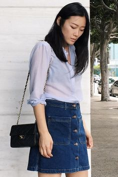 Sheer summer uniform by Ann Kim https://ayr.com/products/the-easy-shirt-in-weightless-cotton?color=blueberry