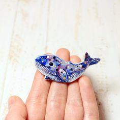 Whale Jewelry Brooch Jewelry Art Pin Space Jewelry Art Fish Brooch Hand Made Jewelry Cute Art Whale Beautiful Brooch Art Clay Polymer Pin