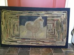 Early American Antique Wool Hooked Rug Animal Chickens Primitive | eBay