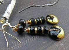 A Mournful Uproar - OOAK black and gold lampwork disc and obsidian long glamorous party earrings. by PreciousViolet on Etsy