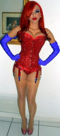 ms jessica rabbit. Awesome costume! Although I don't remember her wearing just underwear... I'd probably add a red skirt of some sort