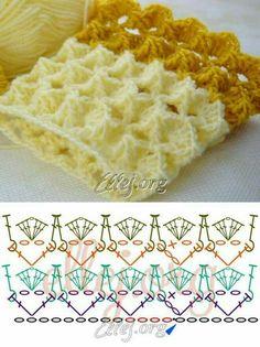 Amazing and easy textured stich for scarfs and blankets - Hermoso punto texturado. Para hacer en crochet bufandas o mantas. Bellísimo y fácil.