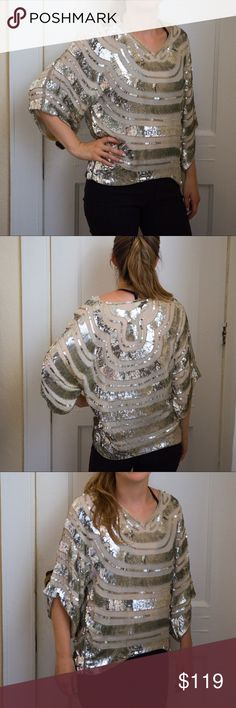 ⚡️SALE⚡️🆕Rare Vintage Boutique Sequin Blouse Item description: beautiful sequin top, really high quality, heavy sequin hardware, cool flowy design, clear heading along top of arms.  Fit: true to size  Condition: excellent for vintage  Major defects/damage: none  Bundle and S A V E!! I'd be happy to put together a personalized listing for you!  15% off 2 items 20% off 3 or more items  Sorry, no trades. Boutique Tops Blouses