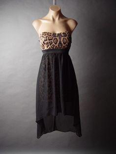 Leopard Animal Print Black Chiffon High Low Hem Skirt Empire Waist Party Dress S   eBay $31.85
