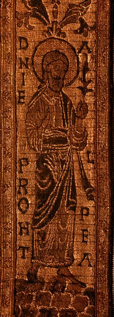 St Cuthbert textile, maniple with the prophet Daniel, circa 7th century. Durham Cathedral. Anglo-Saxon embroidary.