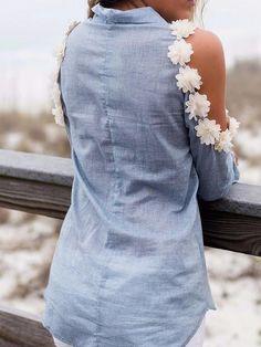 Blue Daisy Cold Shoulder Long Sleeve Shirt