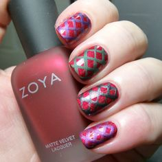 Zoya Matte Velvet Collection: LE for Holiday 2014 - Swatches, Review and Nail Art | Pointless Cafe. Simple freehand lattice using Zoya Savita, Veruschka, Dovima and Harlow. The Posh base is with top coat and the lattice was left matte.