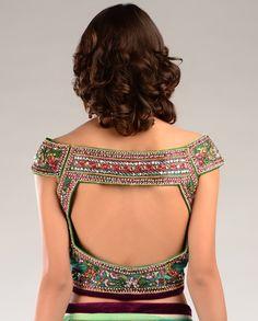 funky saree blouse design