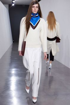 Celine Fall 2012 | The zipper in the pant front along with the blue\black\white scarf is fabulous.
