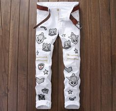 European American Style 2016 Men casual denim trousers cotton luxury famous brand jeans Straight slim zipper white jeans for men  Price: 16.14 USD