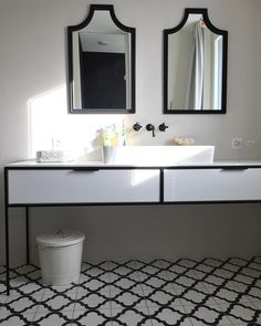 Beautiful #atmosphere in #bathroom #cementtiles #handmade #blackandwhite #bathroomdesign #marocco @pophamdesign Double Vanity, Mirror, Bathroom, Handmade, Furniture, Beautiful, Home Decor, Ideas, Washroom