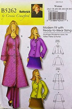 OOP Butterick Pattern B5262. Misses Szs XXL; 1X; 2X; 3X; 4X; 5X; 6X Jacket & Coat. Designs by Connie Crawford Butterick http://www.amazon.com/dp/B00A2Z95OA/ref=cm_sw_r_pi_dp_OLLWwb0ADDX9T