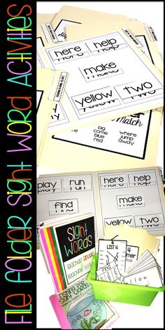DOLCH Sight Word activities.  Hands on and interactive games for students to practice reading and writing of sight words.  File Folder Sight Word Games