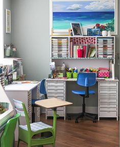 Little splashes of color and a big picture of the ocean add interest to this well organized, neat crafting space. Even small areas can be transformed into functional scrap-booking spaces with the right setup.
