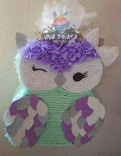 Piñata #Búho pedido especial y totalmente personalizado en colores Menta, Lila y toques de plata. Con nosotros puedes crear todo lo que tengas en mente. +✂=
