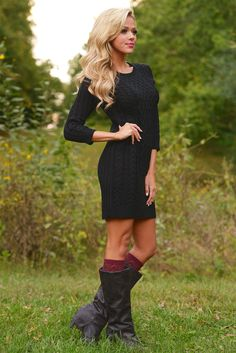 All Of Your Attention Sweater Dress - Black from Closet Candy Boutique