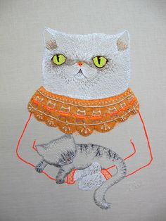 Cats in Needlework, Textiles and Decorative Arts: embroidery by catrabbitplush.