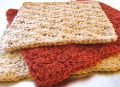 Set of 3 Earthy Orange and Cream Cotton by CraftyCajunHousewife, $13.00