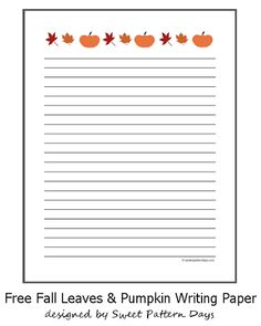 Halloween Pumpkins Primary Lined Kids Writing PaperFree Printable