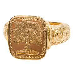 18ct gold, patterned signet ring with tree seal engraving