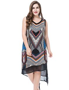 c80ea300cadd Chicwe Women s Plus Size Sleeveless Multi Layer Printed Dress - Knee Length  Casual Party Dress at Amazon Women s Clothing store