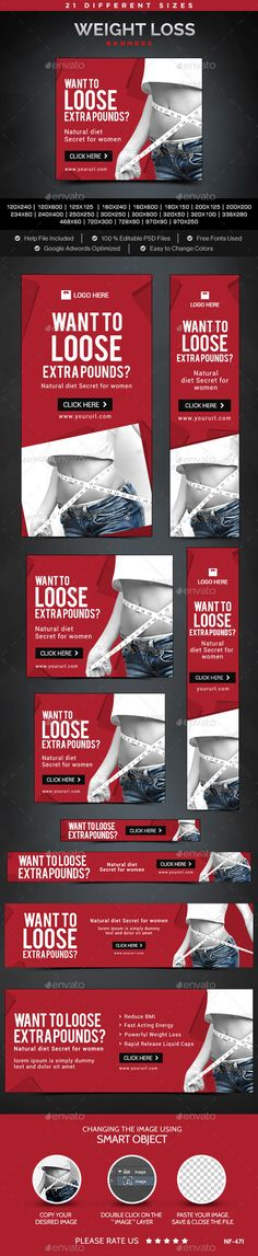 Weight Loss Banners Template #design #web Download: http://graphicriver.net/item/weight-loss-banners/11975620?ref=ksioks