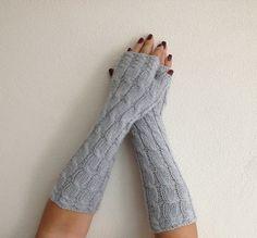 Grey Long Fingerless Gloves Armwarmers  Hand Knit by NesrinArt, $24.00