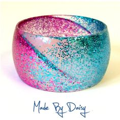 Bright Blue and Pink Glitter Retro Resin Bangle ❤ liked on Polyvore