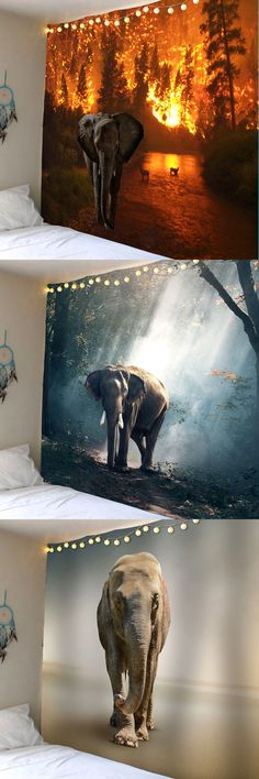 Elephant in Forest Wall Hanging Tapestry
