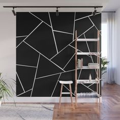 Dark Teal Ink Gold Geometric Glam Wall Mural by anitabellajantz Geometric Wall Paint, White Wall Paint, Bedroom Wall Designs, Accent Wall Bedroom, Accent Wall Designs, Accent Walls, Black Walls, White Walls, Black Painted Walls