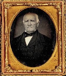 HOUSTON, Sam (1793-1863), First President of the Republic of Texas, Senator, Governor. Daguerreotype photographic portrait of the 70-year-old Texas patriot, PROBABLY THE LAST PORTRAIT OF HOUSTON BEFORE HIS DEATH, by an unknown dauguerreotypist [possibly by J.H. Stephen Stanley, of Houston, Texas, on or about 18 March 1863.] Sixth-plate daguerreotype
