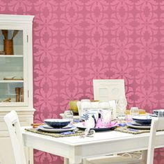 Geometric Allover Flower Wall Stencil | Royal Design Studio