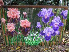 Iris oil painting on antique window, sold. Custom orders invited.